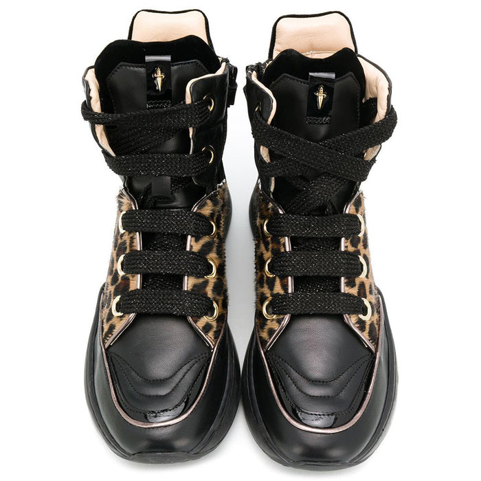 new arrive wholesale price first look Girls Black Leather High-Top Leopard Sneakers