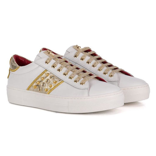 Cesare Paciotti-Girls White Trainers with Gold Details-boysgirlsonline.com