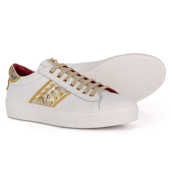 Cesare Paciotti Girls White Trainers with Gold Details - Kids clothes online | BOYS & GIRLS ONLINE