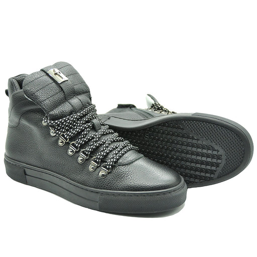 Cesare Paciotti Black Leather High Top Trainers-BOYS & GIRLS ONLINE