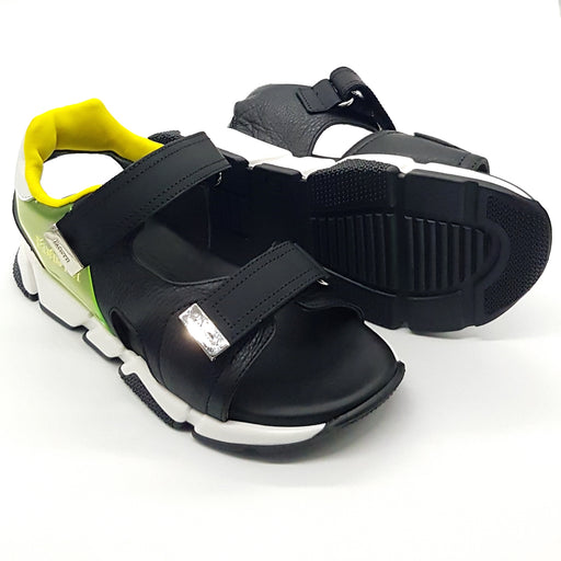Cesare Paciotti-Boys Black Leather Touch Straps Sandals-boysgirlsonline.com