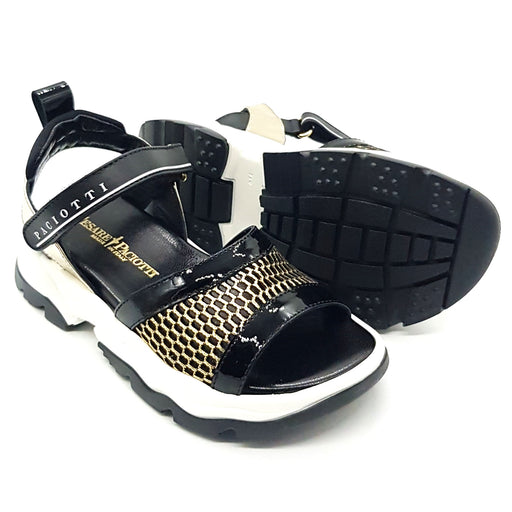 Cesare Paciotti-Girls Black and Gold Leather Sandals-boysgirlsonline.com