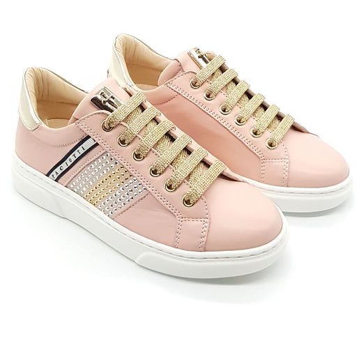 Cesare Paciotti-Girls Pink Sneakers with Studs-boysgirlsonline.com