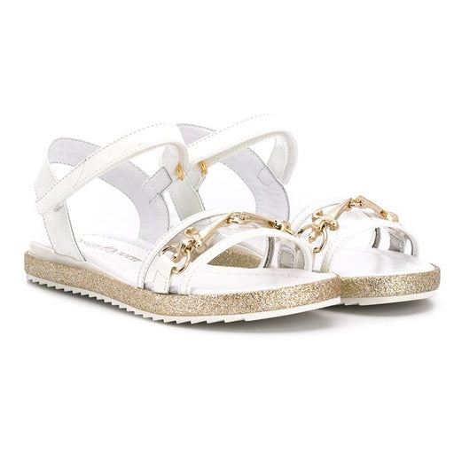 Girls White Buckle Open-Toe Sandals