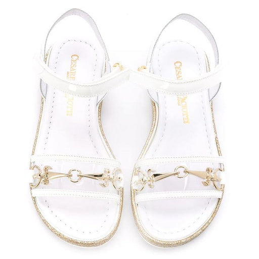 Cesare Paciotti-Girls White Buckle Open-Toe Sandals-boysgirlsonline.com