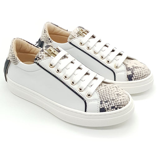 Cesare Paciotti-Girls White Sneakers with Python Decorations-boysgirlsonline.com