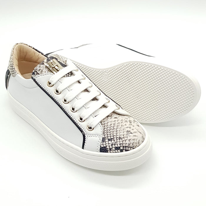 Girls White Sneakers with Python Decorations