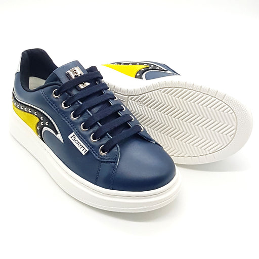 Cesare Paciotti-Navy Blue Decorated Sneakers-boysgirlsonline.com