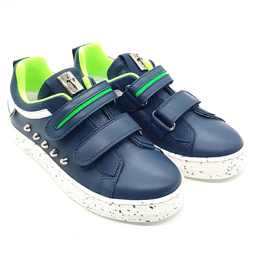 Cesare Paciotti-Navy Blue Sneakers Decorated with Studs-boysgirlsonline.com