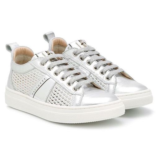 Cesare Paciotti-Silver Patent Leather Low-Top Sneakers-boysgirlsonline.com