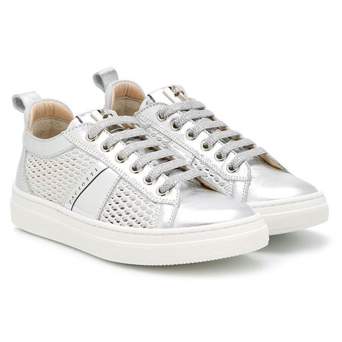 Silver Patent Leather Low-Top Sneakers