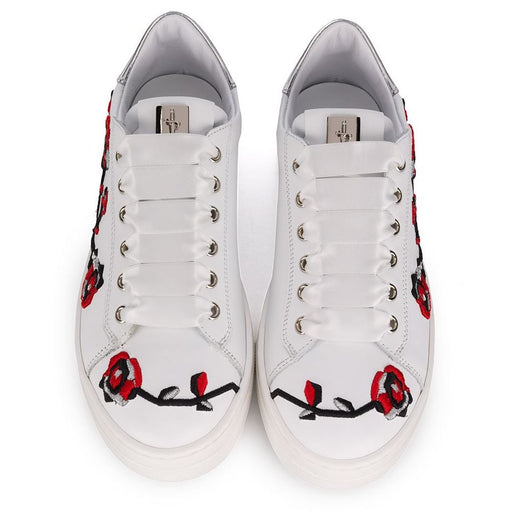 Cesare Paciotti-White Trainers with Floral Embroideries-boysgirlsonline.com