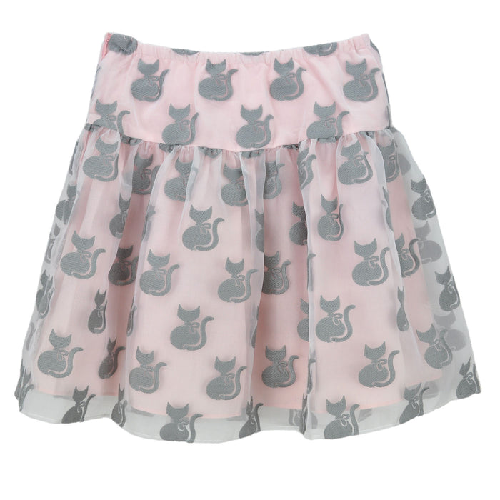 Charabia Girls Pink and Grey Organza Embroidered Cat Skirt-BOYS & GIRLS ONLINE