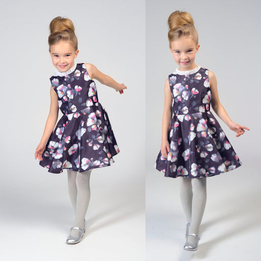 Charabia-Printed 3D Effect Organza Dress-boysgirlsonline.com