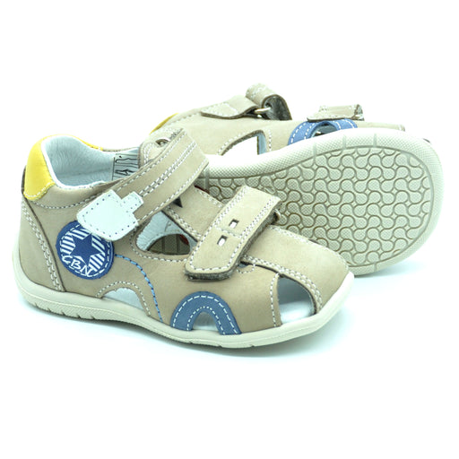 Ciciban Boys Beige Nubuck Leather Sandals with Double Touch Straps-BOYS & GIRLS ONLINE