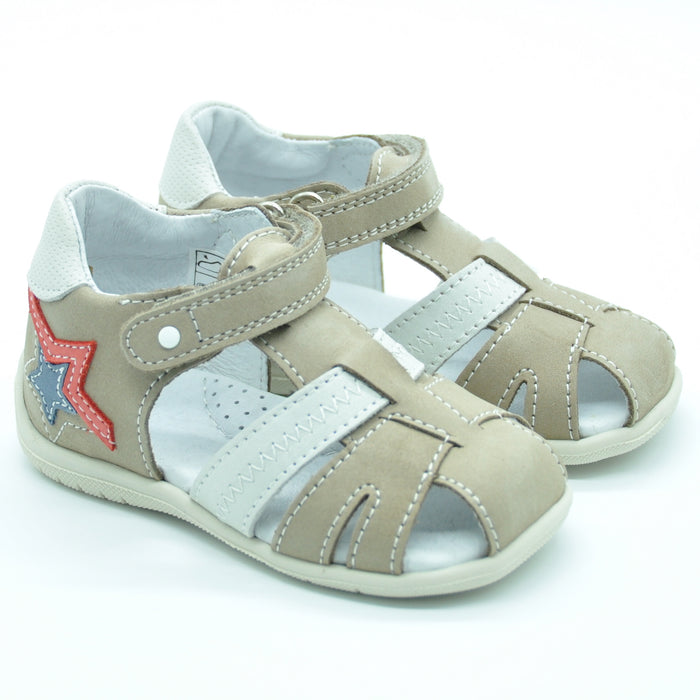 Ciciban Boys Beige Nubuck Leather Sandals with Touch Strap-BOYS & GIRLS ONLINE