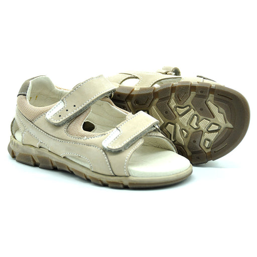 Ciciban Boys Beige Nubuk Leather Sandals with Double Touch Straps-BOYS & GIRLS ONLINE