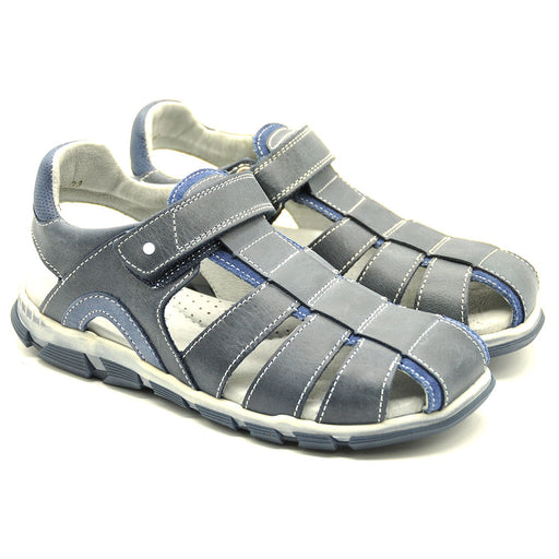 Ciciban Boys Navy Blue Leather Classic Sandals with Touch Strap-BOYS & GIRLS ONLINE