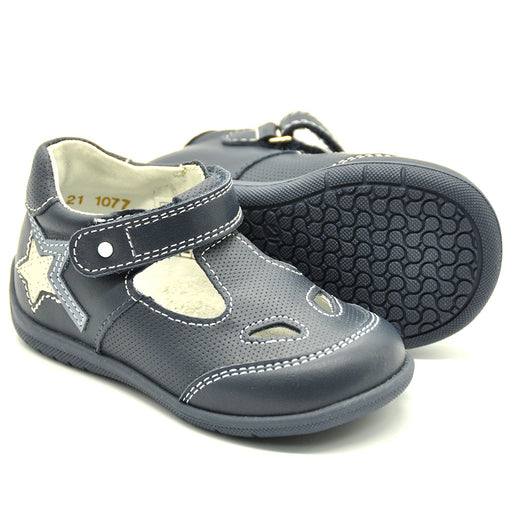 Ciciban Boys Navy Blue Leather Sporty Sandals-BOYS & GIRLS ONLINE