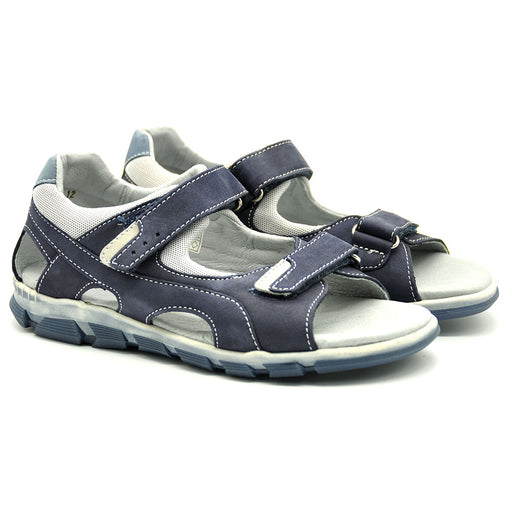 Ciciban Boys Navy Blue Nubuk Leather Sandals with Double Touch Straps-BOYS & GIRLS ONLINE