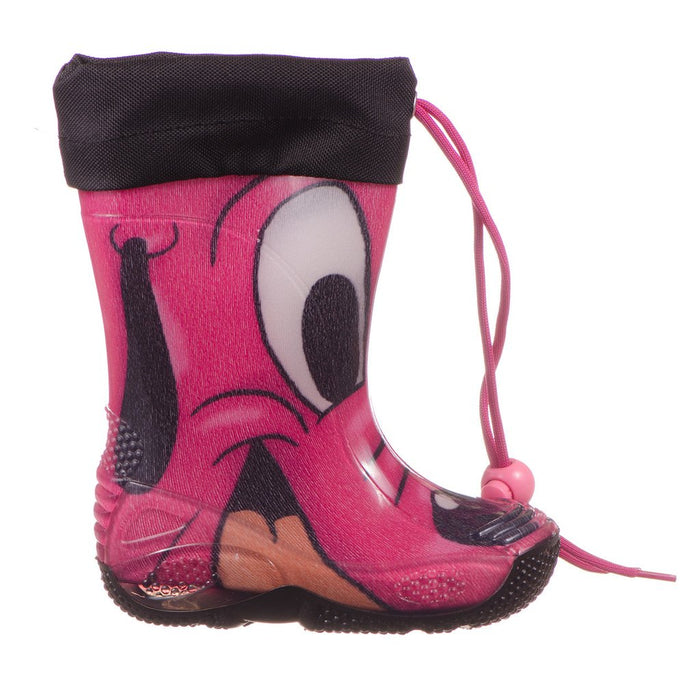 CICIBAN-Girls Pink Dog Face Print Rain Boots-boysgirlsonline.com