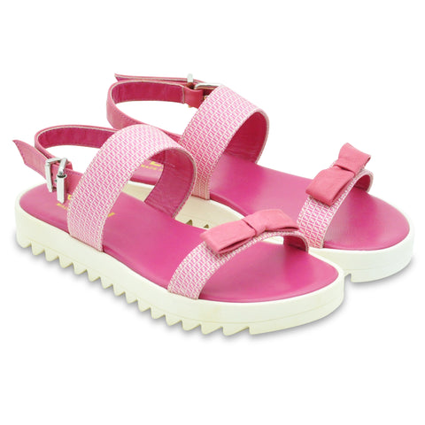 Girls Pink Leather Sandals with Bow