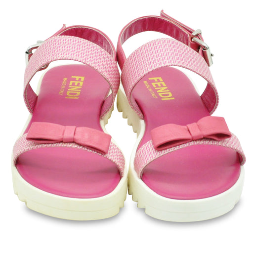 Fendi-Girls Pink Leather Sandals with Bow-boysgirlsonline.com