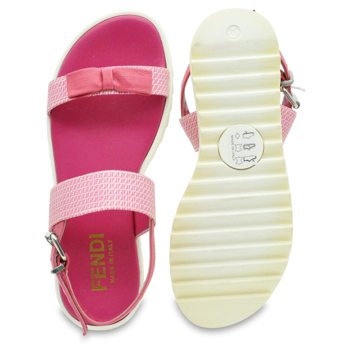 FENDI Girls Pink Leather Sandals with Bow at BOYS & GIRLS ONLINE