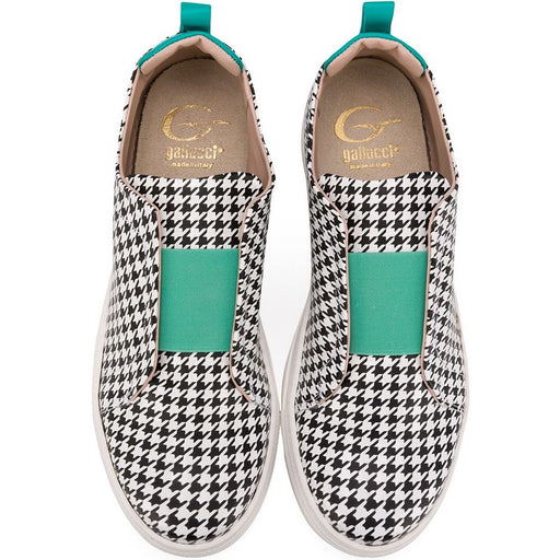 Girls Houndstooth Trainers with Green Details
