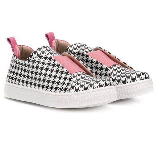 Gallucci - Girls Houndstooth Trainers with Pink Details - Kids clothing at BOYS & GIRLS ONLINE