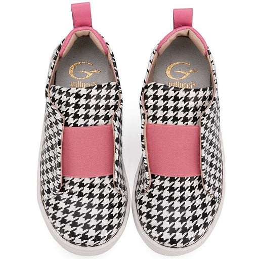 Girls Houndstooth Trainers with Pink Details
