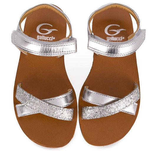 Gallucci-Girls Silver Leather Decorated Sandals-boysgirlsonline.com