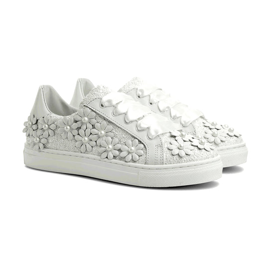 Gallucci Girls White Leather Trainers - Kids clothes online | BOYS & GIRLS ONLINE