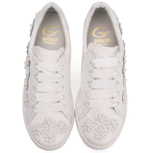 Gallucci - Girls White Leather Trainers - Kids clothing at BOYS & GIRLS ONLINE