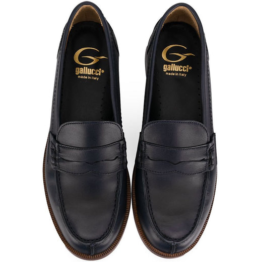 Round Toe Loafers in Black Leather