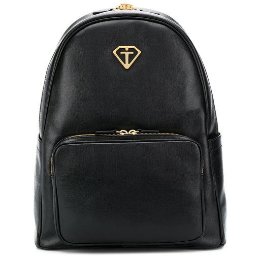 Gallucci-Black Textured-Leather Backpack with Gold Details-boysgirlsonline.com