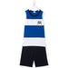 GRIGIOPERLA-Boys Blue White Black Cotton Striped Two-Piece Pyjamas-boysgirlsonline.com