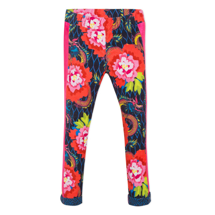 Kenzo Girls Giulianne Velvet Navy Floral Leggings Trousers - Kids clothes online | BOYS & GIRLS ONLINE