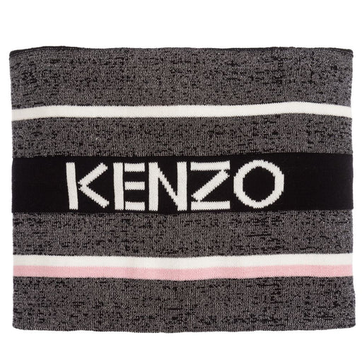 Kenzo Black and Silver Logo Knit Snood - Kids clothes online | BOYS & GIRLS ONLINE