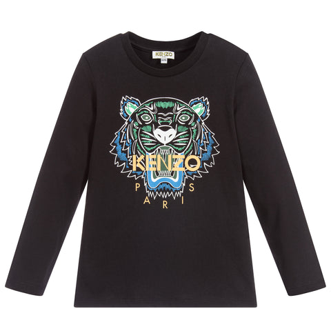 Black Tiger Print Long Sleeve JB2 T-Shirt