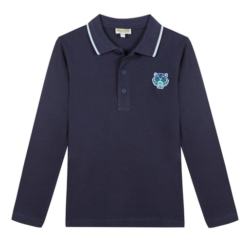 Kenzo - Blue Cotton Tiger Polo Shirt - Kids clothing at BOYS & GIRLS ONLINE