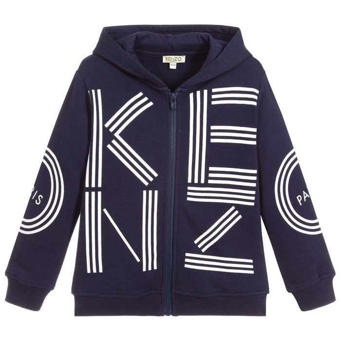 Kenzo - Blue Cotton Zip-Up Hooded Top - Kids clothing at BOYS & GIRLS ONLINE