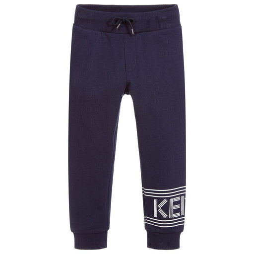 Boys Blue Cotton Logo Joggers