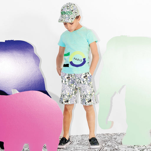 Kenzo-Boys Cotton Disco Jungle Print Shorts-boysgirlsonline.com