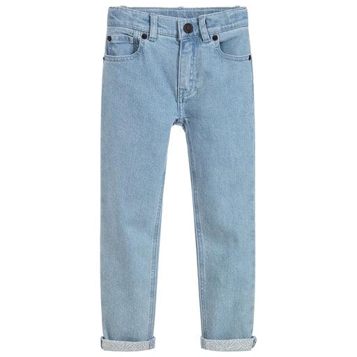 Boys Light Blue Slim Fit Logo Jeans