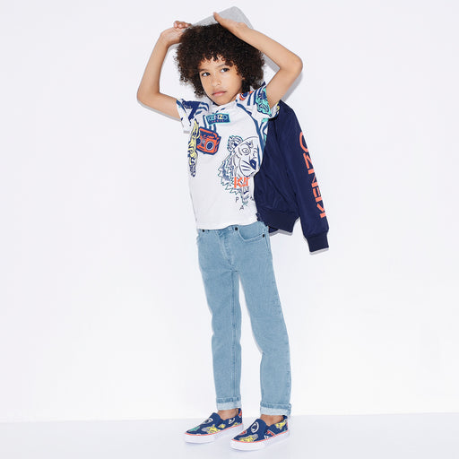 Kenzo Boys Light Blue Slim Fit Logo Jeans - Kids clothes online | BOYS & GIRLS ONLINE