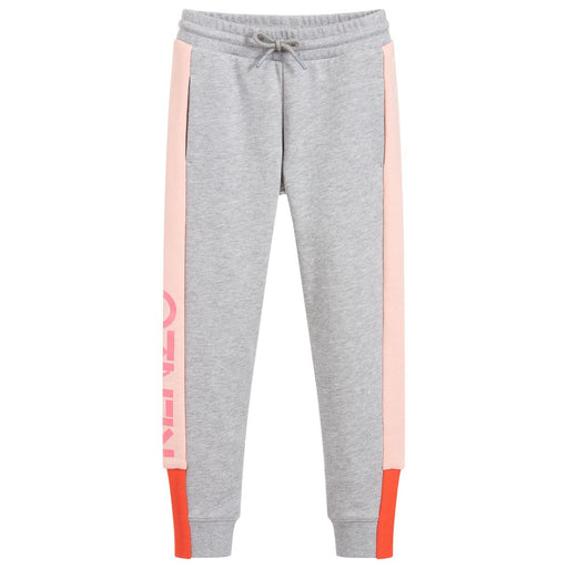 Kenzo - Galessia Grey & Pink Cotton Joggers - Kids clothing at BOYS & GIRLS ONLINE