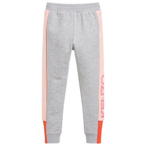 Kenzo Galessia Grey and Pink Cotton Joggers - Kids clothes online | BOYS & GIRLS ONLINE