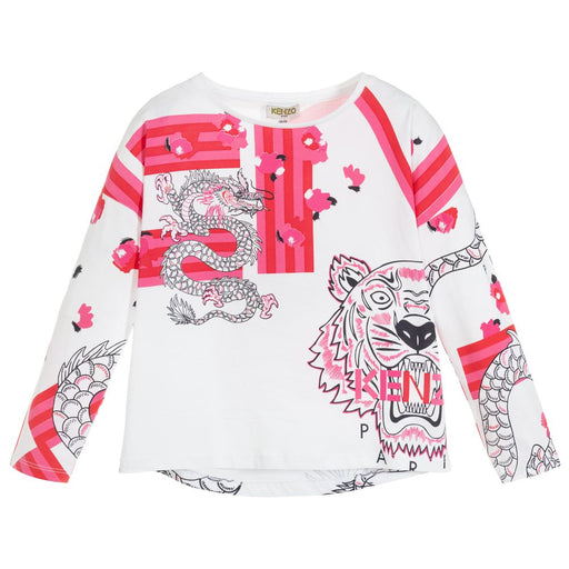 Kenzo Gilda Girls White and Pink Cotton Top - Kids clothes online | BOYS & GIRLS ONLINE