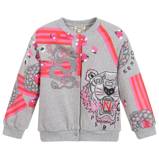 Kenzo Gilina Grey Cotton Jersey Cardigan - Kids clothes online | BOYS & GIRLS ONLINE